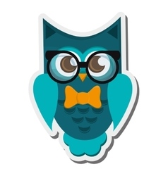 Owl cartoon wearing glasses icon vector
