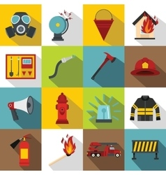 Fireman tools icons set flat style vector image