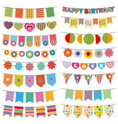 Bunting flags kid party decoration vector