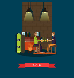 Mountain cafe in flat style vector