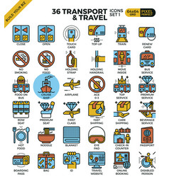 Transport travel outline icons vector