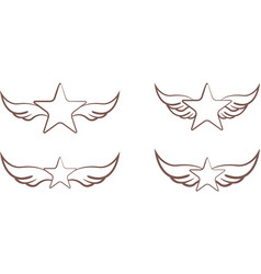 stars with wings vector image