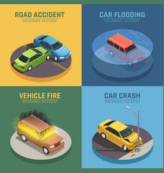 Auto insurance isometric icons square vector