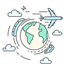 Travel around the earth transport vector image