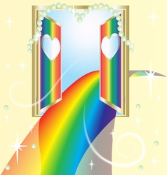 Rainbow road of love an open door vector