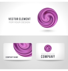 Business card template set abstract purple circle vector