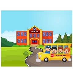 A school bus and kids infront of school vector