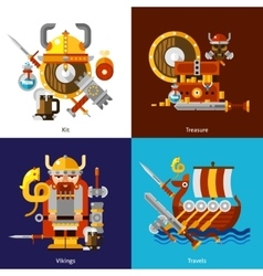Viking army icons set vector