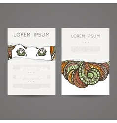 A set of two designs for brochures leaflets vector image