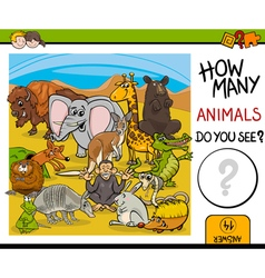 Count animals activity for kids vector