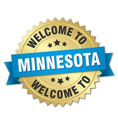 Minnesota 3d gold badge with blue ribbon vector