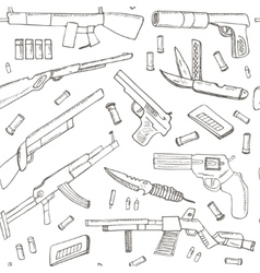 Hand drawn seamless pattern with weapons vector