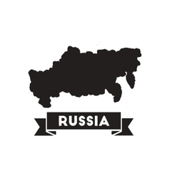 Flat icon in black and white map of russia vector