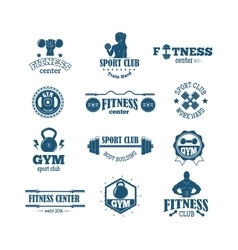 Gym fitness symbols set vector