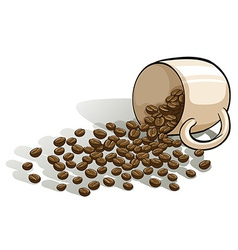 A mug and the spilled beans vector