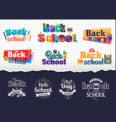 Back to school colorful and monochrome stickers vector