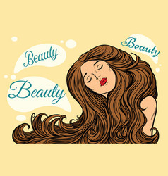 beauty woman with long hair vector image
