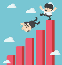 businessman kick fall from the graph vector image vector image