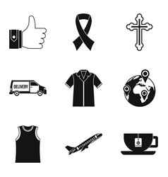Charity service icons set simple style vector