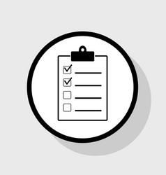 Checklist sign flat black vector