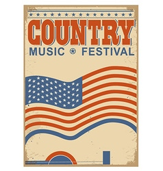 Country music background with text old poster with vector image vector image