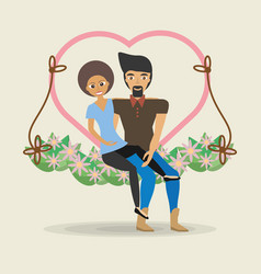 Couple sitting cute swing heart flower decoration vector
