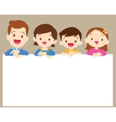 Cute family post smile with white frame vector