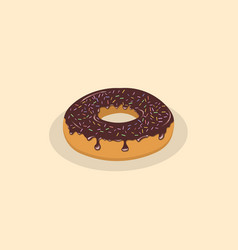 Donut with chocolate icing and sprinkles vector