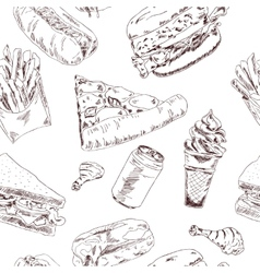 Fast food sketch seamless vector