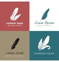 Feather logo templates vector
