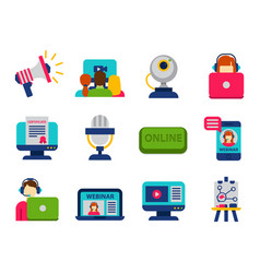 Flat design icons online education staff training vector