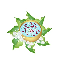 Flower corolla in water bowl for songkran festival vector