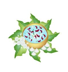 Flower Corolla in Water Bowl for Songkran Festival vector image vector image