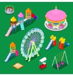 Isometric children playground elements vector