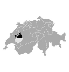 Map of Switzerland with flag of Fribourg vector image