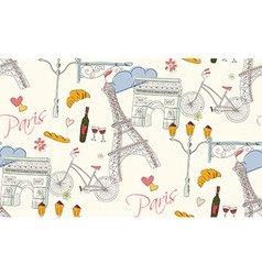Paris symbols postcard seamless pattern vector image