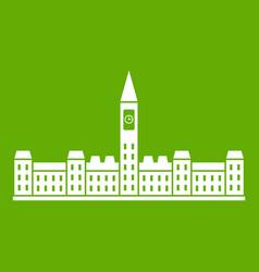 Parliament building of canada icon green vector