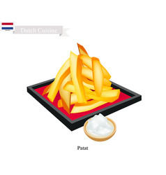 Patat or french fries a popularl dish of netherla vector
