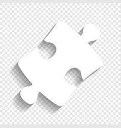 Puzzle piece sign white icon with soft vector