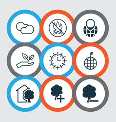 Set of 9 eco icons includes cloud cumulus pin vector