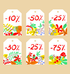 set with autumn sale labels vector image vector image