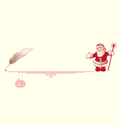 silhouette of santa claus with a pen for writing vector image