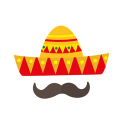 Sombrero icon flat style mexican traditional vector