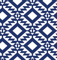 Tribal blue and white geometric seamless pattern vector