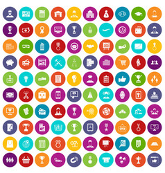 100 business career icons set color vector