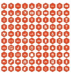 100 tourism icons hexagon orange vector
