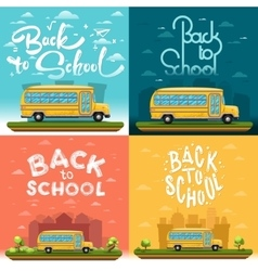 School bus on landscapea vector image