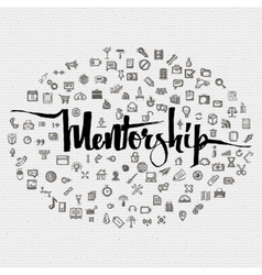 Mentorship lettering concept and business icons vector