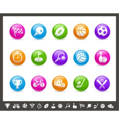 Sports buttons rainbow series vector