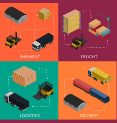 Freight shipment and delivery logistics set vector